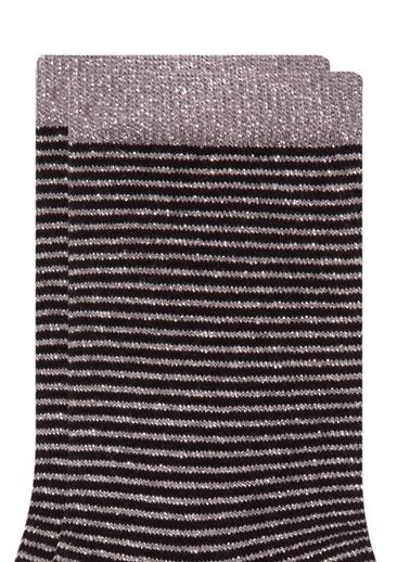 Mavi Çizgili  Soket Çorap Siyah
